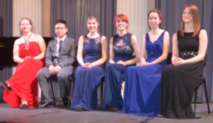 GYM 2015 Finalists: violinist Jennifer Statham, pianist Santos Hau, Rebecca McNaught, cellist Sophie Haynes, flautist Abigail Waterman and trumpet player Nicola Rouse