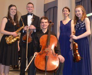 GYM 2017 Finalists: saxophonist Lydia Kenny, violinist Louis Morford, cellist Dan Gilchrist, flautist Alex Waterman and Hannah Brooks-Hughes