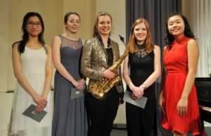 GYM 2018 Finalists: pianist Janice Ng, clarinettist Katie Jenner, Lydia Kenny, oboist Emily Stephens and pianist Kimberley Mok