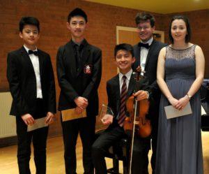 GYM 2019 Finalists: pianist Michael Lei, pianist Diff Jia, Bill Ko Tsz Hin, euphonium player Stephen Parker and clarinettist Katie Jenner